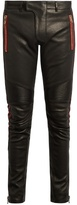 Balmain Biker Slim-leg Leather Trousers