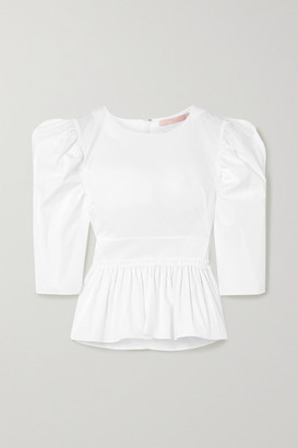Brock Collection Stretch-cotton Poplin Peplum Blouse - White