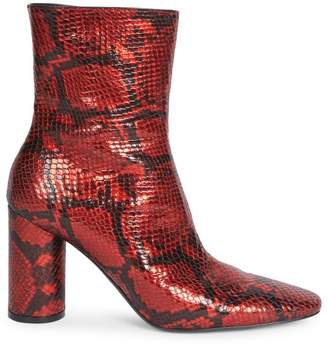Balenciaga Oval Block-Heel Snakeskin-Embossed Leather Ankle Boots