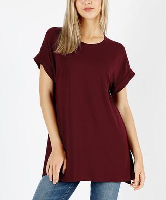 Zenana Women's Tee Shirts DK.BURGUNDY_IPB - Dark Burgundy Crewneck Roll-Sleeve Tee - Women