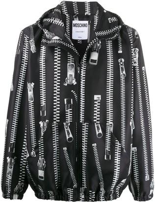 Moschino Zip Print Hooded Jacket
