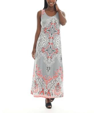 Shoreline Women's Maxi Dresses GREY - Gray & Red Paisley Sleeveless Maxi Dress - Women