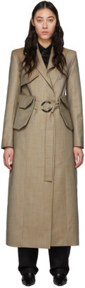 BEIGE Materiel Tbilisi Pinstripe Belt Bag Trench Coat