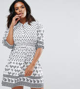 Yumi Plus Belted Dress In Border Print