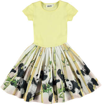 Molo Girl's Cissa Short-Sleeve Ribbed Dress w/ Panda Print Skirt, Size 3T-12