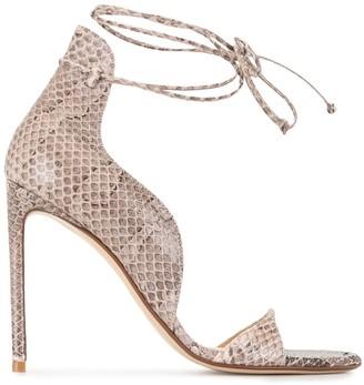 Francesco Russo Snakeskin-Effect Ankle-Tie Sandals
