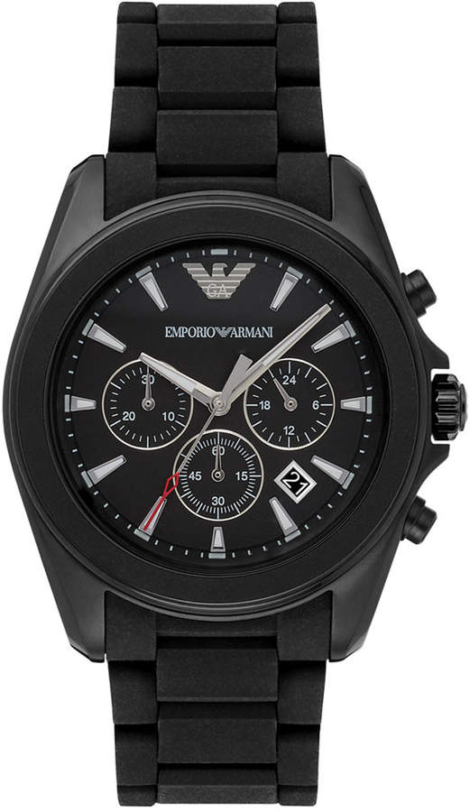 Emporio Armani Men's Chronograph Sigma Black Silicone Strap Watch 44mm AR6092