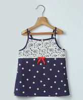 Beebay Girls' Tank Tops Navy - Lace & Star Print Top Navy - Newborn, Infant, Toddler & Girls