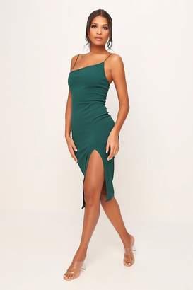 I SAW IT FIRST Emerald Green Asymmetric Strap Split Midaxi Dress