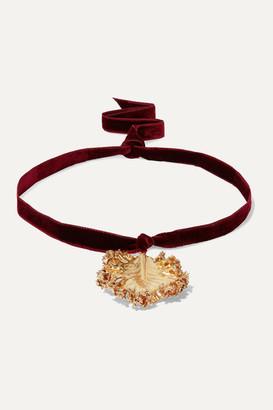 Ranjana Khan Gold-plated And Velvet Necklace - Burgundy