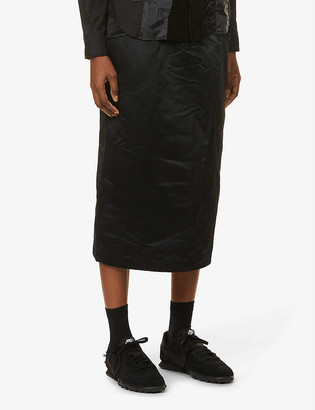Black Comme Des Garcon Drawstring high-waist shell midi skirt