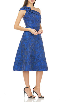 Carmen Marc Valvo Jacquard One-Shoulder Cocktail Dress