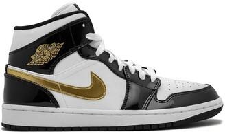 Jordan Air 1 Mid SE black gold patent leather