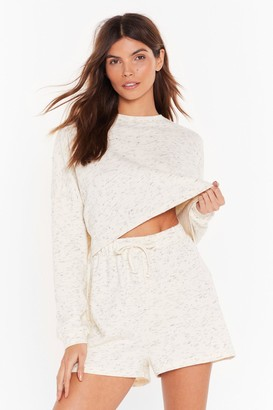 Nasty Gal Womens What the Fleck Cropped Top and Shorts Lounge Set - white - 6