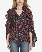 Jessica Simpson Juniors' Printed Cold-Shoulder Ruffle Top