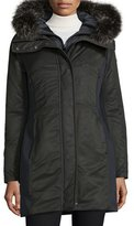 Post Card Hooded Ponte-Trim Parka, Nero