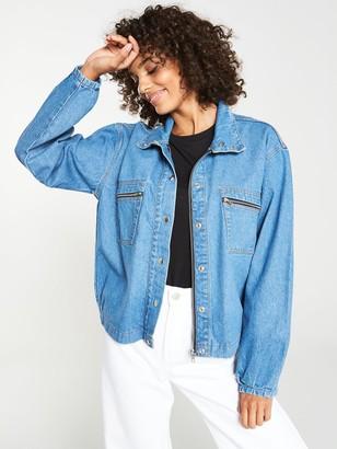 Very Zip Pocket Denim Jacket - Mid Wash