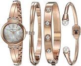 Anne Klein Women's AK/2372RGST Swarovski Crystal Accented Rose Gold-Tone Bangle Watch and Bracelet Set