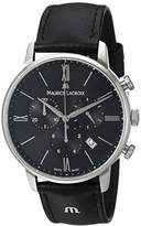 Maurice Lacroix Men's 'Eliros' Quartz Stainless Steel and Leather Casual Watch, Color:Black (Model: EL1098-SS001-310-1)
