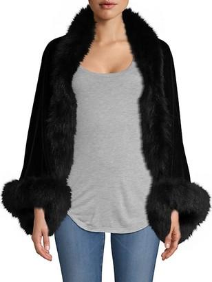 Adrienne Landau Fox Fur-Trim Long-Sleeve Velvet Shrug
