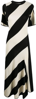 Stella McCartney Striped-Knit Cape-Style Midi Dress