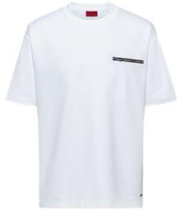 HUGO BOSS Mercerized Cotton Blend T Shirt With Zipper Chest Pocket - White