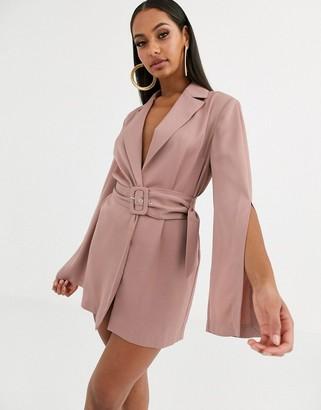 Asos Design DESIGN split sleeve wrap waist longline blazer-Pink