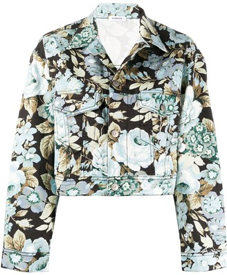 P.A.R.O.S.H. Denim Cropped Floral Print Jacket