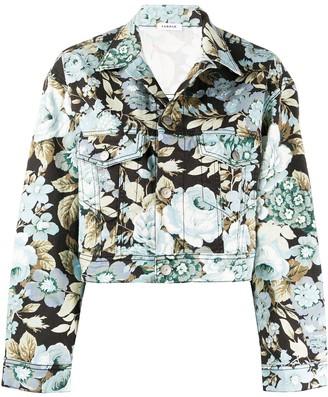P.A.R.O.S.H. denim cropped floral print jacket