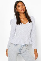 boohoo Tall Woven Ditsy Floral Sweetheart Neck Top