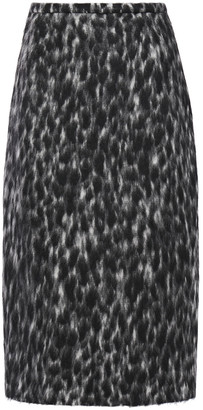 Rochas Leopard-print Wool-blend Pencil Skirt