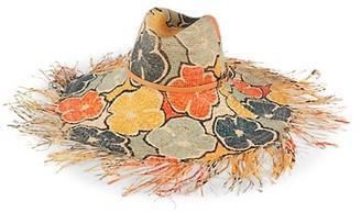 Raffaello Bettini Printed Flower Mixed Crochet Straw Gardener Hat