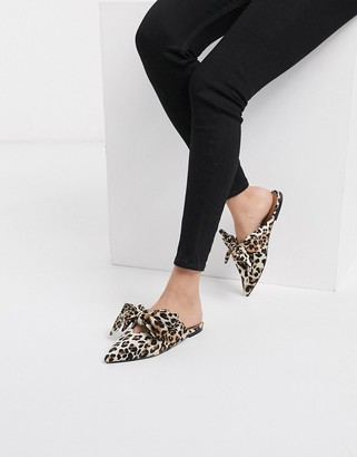 ASOS DESIGN Letty bow slingback ballet flats in leopard