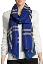 Burberry Gauze Giant Check Scarf, Dark Blue