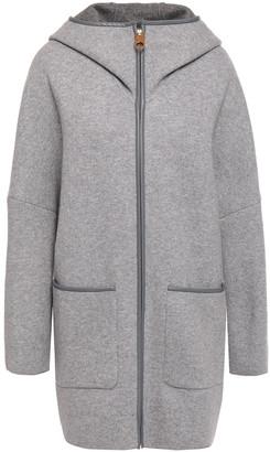 Agnona Leather-trimmed Melange Cashmere Coat