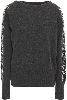 Sandro Dina Crystal-embellished Lace-trimmed Wool-blend Sweater