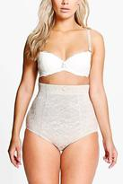 Boohoo Plus Emma All Over Lace High Waist Cotton Brief