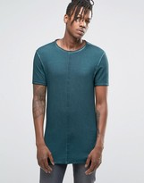 Asos Longline Muscle T-Shirt With Wash And Popped Seams