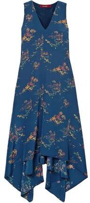 Sies Marjan Asymmetric Printed Crepe De Chine Midi Dress