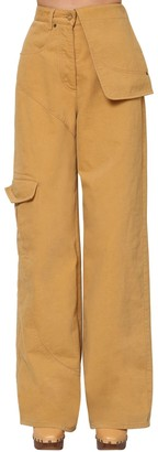 Jacquemus High Waist Cotton Denim Cargo Pants