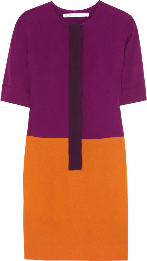 Victoria Beckham Victoria, Color-block crepe dress