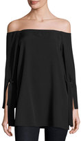 Halston Long-Sleeve Off-the-Shoulder Blouse