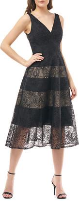 Carmen Marc Valvo V-Neck Sheer Eyelet Organza Dress