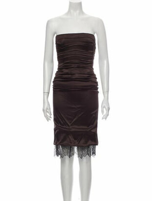 Dolce & Gabbana Silk Midi Length Dress Brown