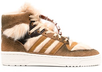 adidas Faux Fur-Trimmed Lace-Up Trainers