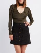 Charlotte Russe Striped Cut-Out Mock Neck Top
