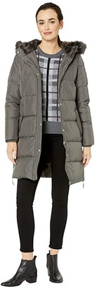 Lauren Ralph Lauren Horizontal Heavy Down w/ Flap Pockets Puffer Coat (Flannel) Women's Clothing