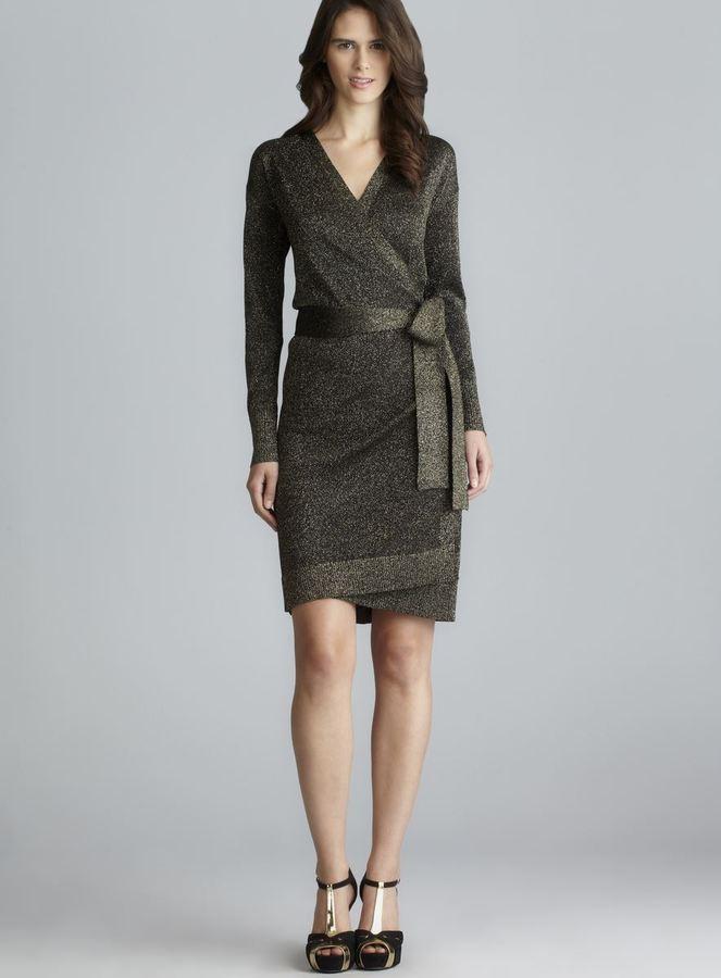 Diane von Furstenberg Long Sleeve Lurex Wrap Dress