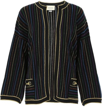 Gucci Glittered Stripe Embroidered Jacket