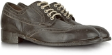 Forzieri Dark Brown Tuffato Leather Wingtip Derby Shoes
